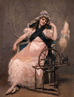The Athenaeum - A Young Beauty at a Spinning Wheel (Madeleine Jeanne Lemaire - No dates listed)