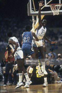 North Carolina Michael Jordan (23) in action, defense vs Georgetown Sleepy Floyd (21). New Orleans, LA 3/29/1982