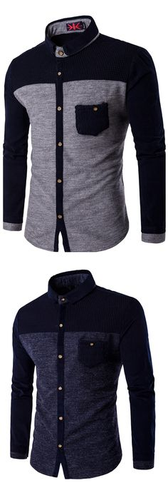 72f05a7a469 Men's Daily Weekend Plus Size Cotton Slim Shirt - Color Block Classic  Collar Dark Gray XXXL / Long Sleeve / Fall