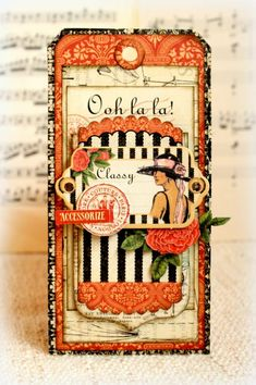 """pinner said : I made this tag for Graphic 45 with the amazing """"Couture"""" collection. Graphic 45, Card Tags, Gift Tags, Card Kit, Decoupage, Scrapbooking, Vintage Scrapbook, Paper Tags, Vintage Tags"""