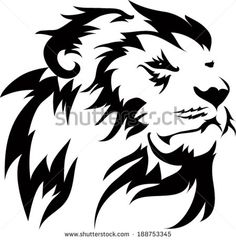 head lion_ tribal - Buy this stock illustration and explore similar illustrations at Adobe Stock Tribal Cat, Tribal Animal Tattoos, Tribal Lion Tattoo, Small Lion Tattoo, Lion Head Tattoos, Tribal Animals, Leo Tattoos, Circle Tattoos, Lion Silhouette