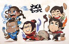 Korra, Sokka, Azula, Zuko, Bolin, and Mako