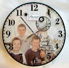 have the children write the favorite saying from the bible or some theme, decopag the sayings to the face of the clock