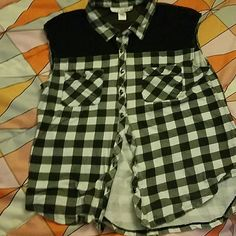 Plaid top Black and white plaid top with black sheer like shoulders Tops Button Down Shirts