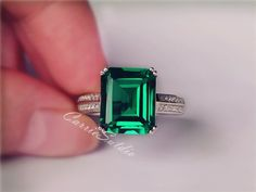 Items similar to Emerald Ring Emerald Engagement Ring/ Wedding Ring Anniversary Ring Promise Ring on Etsy Emerald Cut Sapphire Ring, Emerald Wedding Rings, Emerald Stone, Gold Engagement Rings, White Gold Rings, Silver Rings, Silver Bracelets, Green Gemstones, Delicate Rings