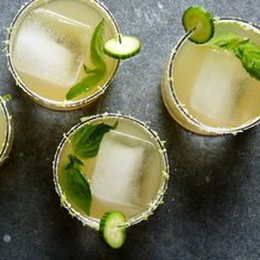 A refreshing cucumber and basil simple syrup makes this margarita a go-to cocktail to enjoy with your favorite spicy Mexican dish. The recipe is easily doubled. Margarita Cocktail, Cocktail Drinks, Cocktails, Margherita Recipe, Food & Wine Magazine, Mexican Dishes, Simple Syrup, Wine Recipes, Basil