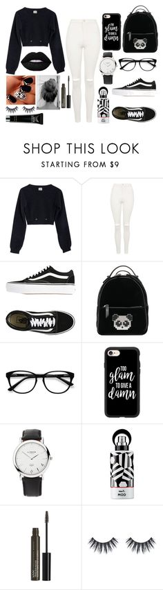 """""""Black and White Tonight"""" by leamehaj ❤ liked on Polyvore featuring Base Range, Topshop, Vans, Les Petits Joueurs, EyeBuyDirect.com, Casetify, Links of London, Avon and NYX"""