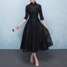 ボタニカル黒レースのハイネックミモレ丈ドレスワンピース 結婚式 - 韓国プチプラパーティードレス通販『TENDERLY DRESS』結婚式二次会お呼ばれ