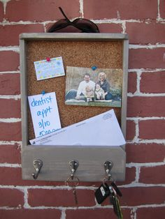 wooden mail holder, keyhook & corkboard.