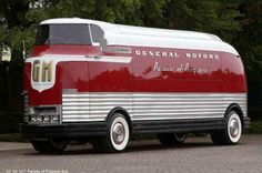 The GM Futurliners were a group of stylized buses designed in the 1940s by Harley Earl. They were used in GM's Parade of Progress, which traveled the United States exhibiting new cars and technology. The Futurliners were used from 1940-1941 and 1953-1956. A total of 12 were built, and 9 were still known to exist as of 2007. Each Futurliner displayed modern advances in science and technology such as jet engines, stereophonic sound, microwave ovens, televisions and more.