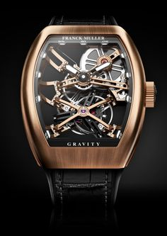 The Gravity line continues to evolve introducing a new skeletonized  version, combining cutting-edge technology with unique heritage.The  pioneering construction of the movement lies in the shape of the bridges  that have been turned into a concave and convex shape, offering the watch  an exclu