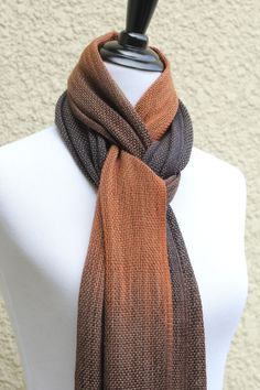 """Hand woven long scarf with gradually changing colors from brown to dark chocolate and black. Amazing color shades and color variety. Measures: L: 78"""" with 6"""" fringe on both... #kgthreads"""