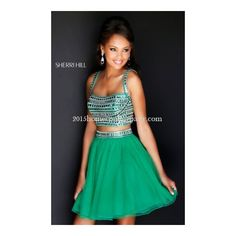 Emerald Sherri Hill 11060 Short Two Piece 2015 Homecoming Dress ❤ liked on Polyvore featuring dresses
