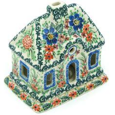 Polish Pottery 5-inch House Shaped Candle Holder   Boleslawiec Stoneware   Polmedia H9536G   Polmedia