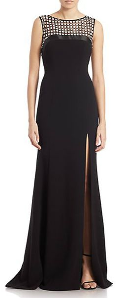 Theia Embellished Yoke Sleeveless Gown