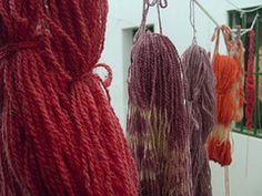 Colores de la cochinilla. Lanzarote. Islas Canarias. Lana teñida con tinte natural.