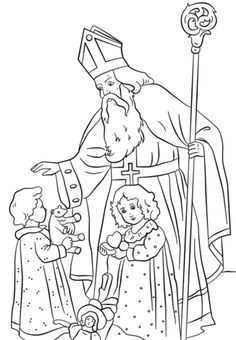 Nicholas Greets Children coloring page Free Printable Coloring Pages Colouring Pages, Coloring Pages For Kids, Coloring Books, Coloring Sheets, Christmas Colors, Christmas Fun, Christmas Images, Vintage Christmas, Minecraft Coloring Pages