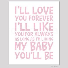 """I'll Love You Forever Quote Wall Art Print, Child Kids Room Decor Message Boys Girls Baby Nursery Love Art, Pastel Pink White ofCarola 8x10"""""""