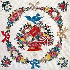 Details, Baltimore Album Quilt, 1849. Textile Museum