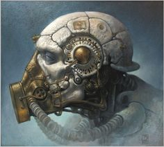 Have you ever looked at a piece of art and wondered, what kind of imagination could come up with this creation? When I look at the artwork of Dariusz Zawadzki, this is what comes to my mind. Steampunk Kunst, Steampunk Artwork, Steampunk Hat, Arte Robot, Surrealism Painting, Arte Horror, Sci Fi Characters, Masks Art, Art Graphique