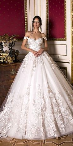 lace wedding dresses ball gown off the shoulder lace floral appliques 2019 oksan. lace wedding dresses ball gown off the shoulder lace floral appliques 2019 oksana mukha Princess Wedding Dresses, Dream Wedding Dresses, Bridal Dresses, Wedding Gowns, Lace Wedding, Wedding Bride, Mermaid Wedding, Wedding Ideas, Wedding Dress Pink