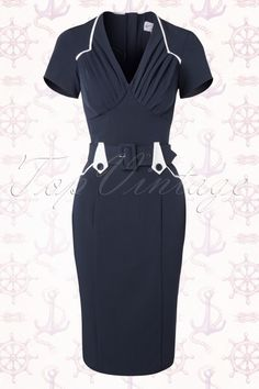 Miss Candyfloss TopVintage exclusive ~ 50s Mavis Pencil Dress in Navy and White
