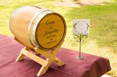 Personalized Wine Barrel Wedding Card Holder perfect for a vineyard wedding from Wine Country Occasions www.winecountryoccasions.com