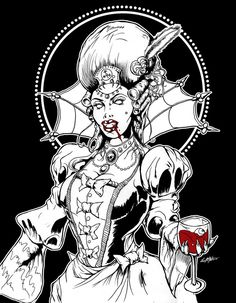 Ruler of a vampire court in the Victorian Era, Countess Lilith clutches onto a chalice of blood as she wears the Sigil of her namesake, Lilith, upon her head. Vampire Queen, Victorian Gothic, Deviantart, Ruler, Larry, Clutches, Instagram Posts, Artwork, Blood