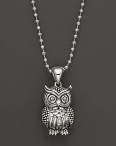 A whimsical owl pendant on a chain in sterling silver. Mens Silver Necklace, Owl Necklace, Sterling Silver Necklaces, Silver Earrings, Pendant Necklace, Silver Jewelry, Silver Bangles, Necklace Chain, Pagan Jewelry
