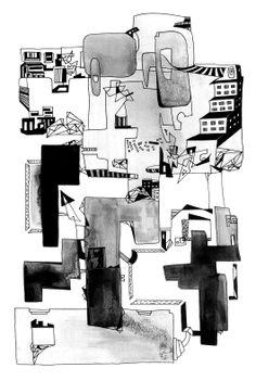 Francois Pretorius - Urban Dwellings (2014) #art #illustration #indianink #design #city #fineart