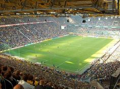 Westfalenstadion, Dortmund.  Saw Germany v. Poland here at the 2006 World Cup.  The atmosphere was electric, an amazing night.