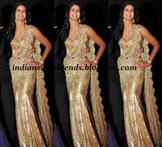 Latest Traditional and Designer Sarees: Katrina Kaif in Tarun Tahiliani Designer Shimmer Cream Saree Gown