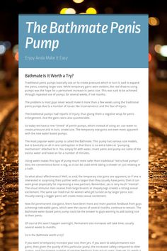 The Bathmate Penis Pump