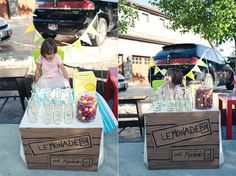 You only need one side of a cardboard box, along with some markers and tape, to create your very own lemonade stand sign like this one from See Jane Blog.  Source: See Jane Blog