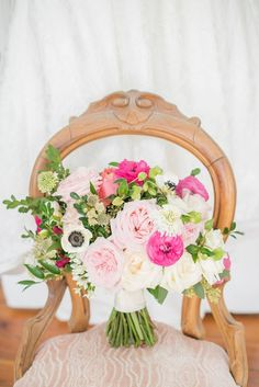OBSESSED with the bride's hot pink and blush bouquet for her Merrimon-Wynne House wedding in Raleigh, NC.   Mikkel Paige Photography
