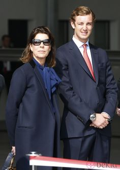 Carolina de Mónaco y Pierre Casiraghi en la presentación de un avión en Niza, marzo 2013