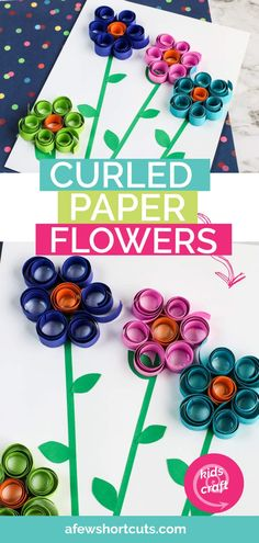 Paper Flowers Discover Curled Paper Spring Flowers Kids Craft - A Few Shortcuts Pull out the construction paper and scissors for the kids. Time to make these fun Curled Paper Spring Flowers. Such a fun Kids Craft. Spring Crafts For Kids, Paper Crafts For Kids, Craft Activities For Kids, Preschool Crafts, Flower Craft Preschool, Spring Craft Preschool, Flower Crafts Kids, Art And Craft, Craft Kids