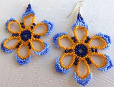 Mexicana Huichol cuentas pendientes flor plana azul y por Aramara