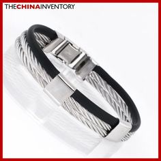 STAINLESS STEEL ROPE RUBBER BANGLE BRACELET B2101