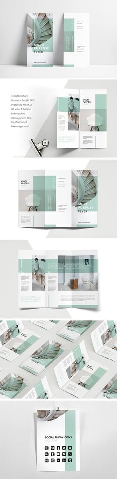 MINT Multipurpose Trifold Brochure by AgataCreate on @creativemarket