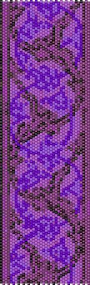 BPPF0003 Purple Flower 3 Even Count Single Drop Peyote Cuff/Bracelet Pattern