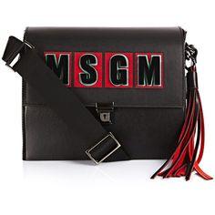 MSGM Logo Bag ($555) ❤ liked on Polyvore featuring bags, handbags, shoulder bags, black, shoulder strap handbags, leather purse, shoulder strap bag, genuine leather shoulder bag and black handbags