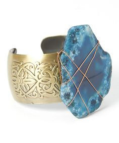 Look at this Antique Gold & Blue Stone Cuff on #zulily today!