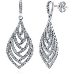 BERRICLE Sterling Silver CZ Leaf Fashion Dangle Drop Earrings ($59) ❤ liked on Polyvore featuring jewelry, earrings, silver, clear, dangle earrings, women's accessories, cubic zirconia earrings, long earrings, long drop earrings and cz drop earrings