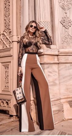 Spring And Summer Clothing Inspiration For Women 2018 18 - Hosen Fashion Pants, Look Fashion, Fashion Dresses, Womens Fashion, Fashion Design, Dress Outfits, Classy Outfits, Stylish Outfits, Winter Mode