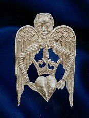 replica- mid 1350s; the heart & crown are an emblem of the Virgin Mary carried by the Angel of the Annunciation (Gabriel)