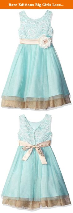 Rare Editions Big Girls Lace To Mesh Social Dress, Mint, 10. Mint lace bodice to mesh skirt with champagne trim dress.