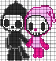 Kandi Patterns for Kandi Cuffs - Characters Pony Bead Patterns Easy Perler Bead Patterns, Perler Bead Templates, Kandi Patterns, Perler Bead Art, Perler Beads, Beading Patterns, Kawaii Cross Stitch, Modele Pixel Art, Pixel Art Grid