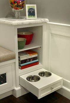Dog Drawer in the Kitchen.  Easy to make.. flip the face frame upside down on any RTA Kitchen Cabinet and you install the drawer on the bottom. #RTA #Kitchen #Cabinets
