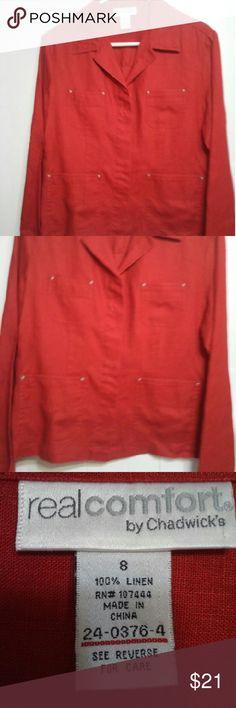 Women's Red Linen Jacket Women's Red Linen Jacket Real Comfort by Chadwick  Jackets & Coats